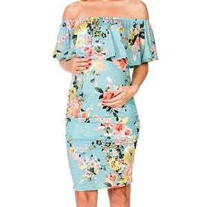 Ruffle off the shoulder maternity floral dress